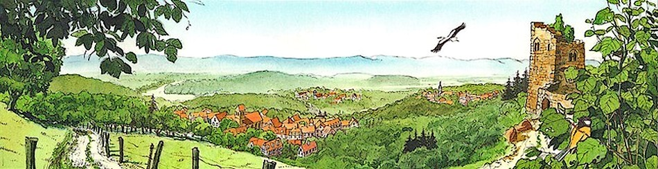 Paysage alsacien - Dessin de Claude Delamarre